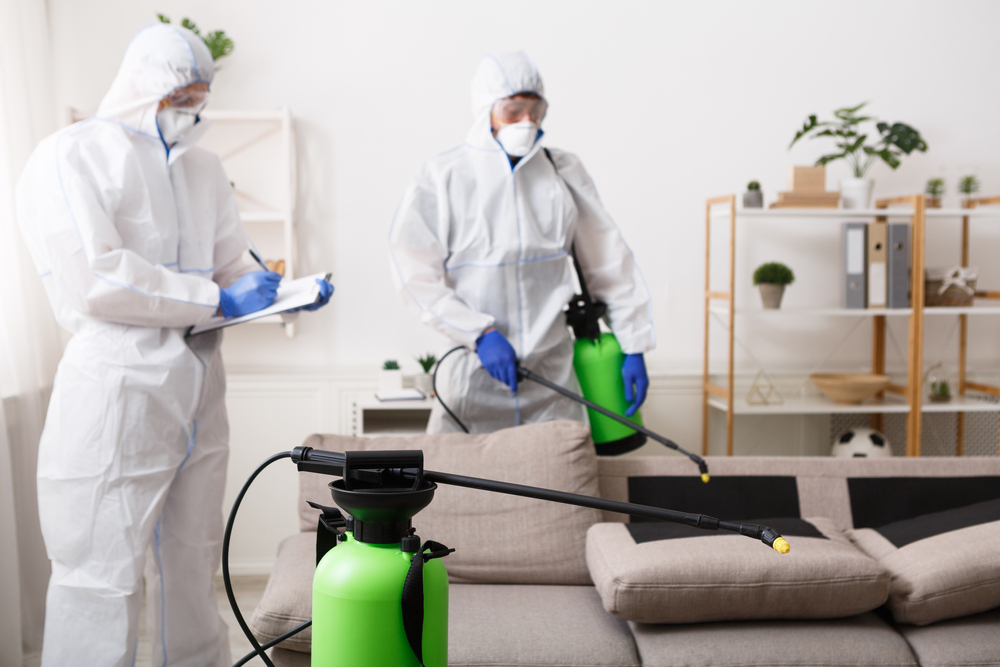 Anti coronavirus disinfection cleaning. Men in hazmat suits cleaning home, epidemic, quarantine